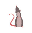cute grey mouse looking up funny rodent character vector image