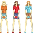 fashion girls top model with clutches vector image vector image