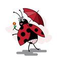 funny cartoon ladybug pinup vector image vector image