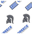 gladiator helmet and greek flag seamless pattern vector image