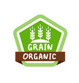 green label with text organic grain vector image