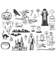 halloween witch ghost pumpkin monster icons vector image vector image