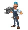 Hipster Repairman Cartoon Character Design vector image vector image