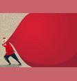 holiday banner - santa claus pulling a huge heavy vector image