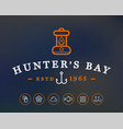 hunting or camping sign with icons hunters bay vector image