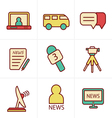 Icons Style News reporter icons set vector image vector image