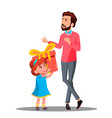 little daughter gives gift to dad isolated vector image
