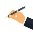 man holds a pen for writing vector image vector image