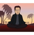 Man meditates in the nature vector image vector image