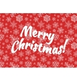 Merry Christmas background with snow on red vector image vector image