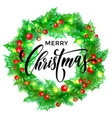 merry christmas greeting card wreath decoration vector image vector image