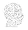 mesh brain gears icon vector image