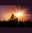 mother and son against sunset sky vector image vector image