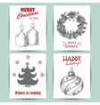 New Year greeting card with a candle ball vector image vector image