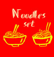 noodles icons grunge ink brush vector image