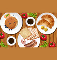 pancakes and toasted on table vector image
