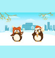 penguins with funny santa hat and ice-cream vector image vector image