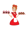 Pin Up housewife serving chocolate cupcakes vector image vector image