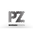 pz p z lines letter design with creative elegant vector image vector image
