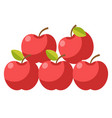 ripe organic apples with stems and leaves vector image vector image