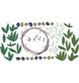 set for creating round olive wreath vector image