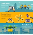 Set of drone banners - shipping surveillance vector image vector image