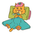 sickening cat with thermometer under the blanket vector image vector image