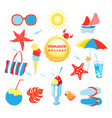 summer set with different isolated objects vector image