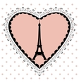 the eiffel tower in frame hearts vector image