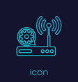 turquoise router and wi-fi signal and gear line vector image vector image