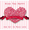 valentine heart concept roses with red ribbon o vector image