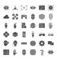 virtual reality solid web icons vector image vector image