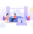 wife talks to busy husband at home flat cartoon vector image vector image