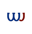 wj colored logo isolated letters icon vector image