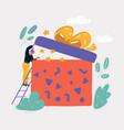woman unpacked big gift box vector image vector image