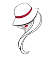 Women in a vintage hat vector image vector image
