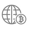 world economy line icon globe and bitcoin sign vector image vector image