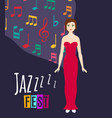 young beautiful girl sings jazz song vector image
