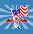 happy presidents day hand holding usa flag vector image