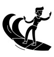 man surfing icon black sign vector image