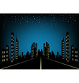 City at night landscape background vector image
