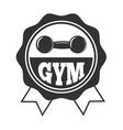 Gym fitness symbols badge vector image