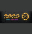 2020 happy new year light up lamp gold design vector image vector image