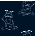 A ship on the waves Seamless background vector image vector image
