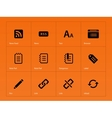 Blogger icons on orange background vector image vector image
