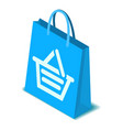 blue shopping bag icon isometric style vector image vector image