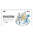 brainstorm man sitting at desk working on laptop vector image vector image