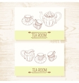 Business card set with hand drawn tea service vector image