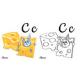 cheese alphabet letter c coloring page vector image vector image