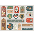 Christmas gift tags set hand drawn style vector image vector image